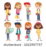 Set of kids with school supplies | Shutterstock vector #1022907757