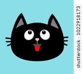 black cat head face icon... | Shutterstock .eps vector #1022918173