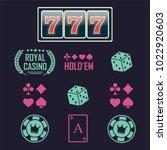 casino vector sign set. slot... | Shutterstock .eps vector #1022920603