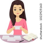 illustration of a teen girl... | Shutterstock .eps vector #1022925163