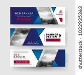 set of horizontal abstract web... | Shutterstock .eps vector #1022935363