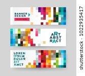 set of horizontal abstract web... | Shutterstock .eps vector #1022935417