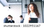 business woman with her staff ... | Shutterstock . vector #1022951167