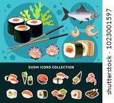 sushi flat composition with... | Shutterstock .eps vector #1023001597