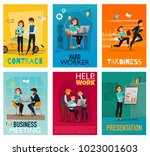 multitasking cards set with... | Shutterstock .eps vector #1023001603