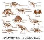 dinosaurs decorative icons set... | Shutterstock .eps vector #1023001633