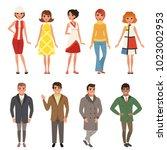 young men and women wearing... | Shutterstock .eps vector #1023002953