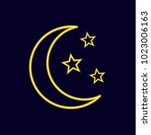 neon vector moon and stars icon ... | Shutterstock .eps vector #1023006163
