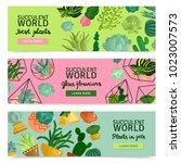 succulents horizontal banners... | Shutterstock .eps vector #1023007573