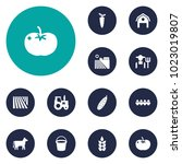 set of 12 agricultural icons... | Shutterstock .eps vector #1023019807