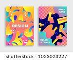 covers with geometric pattern.... | Shutterstock .eps vector #1023023227