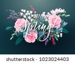 Stock vector floral spring card or poster graphic design with pink roses white flowers exotic leaves 1023024403