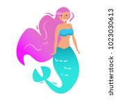 mermaid. vector. cartoon.... | Shutterstock .eps vector #1023030613