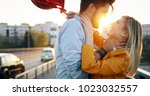 young couple hugging dating and ... | Shutterstock . vector #1023032557