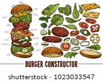 hand drawn vector burger with... | Shutterstock .eps vector #1023033547