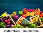 top view of fresh vegetables on ... | Shutterstock . vector #1023034003