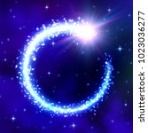 glowing comet frame on blue... | Shutterstock .eps vector #1023036277
