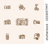 hand drawn camera sketches set. ... | Shutterstock .eps vector #1023057997