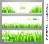 grass banner set with fresh... | Shutterstock .eps vector #1023060517