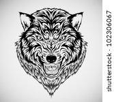 wolf tribal tattoo | Shutterstock .eps vector #102306067