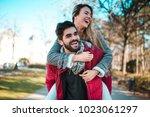 couple in love having fun in... | Shutterstock . vector #1023061297