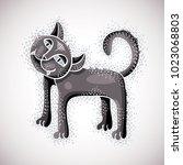 Cute Cartoon Doodle Gray Cat...