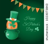 happy st patrick's day card.... | Shutterstock .eps vector #1023073843