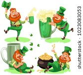 saint patrick day characters ... | Shutterstock .eps vector #1023083053