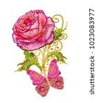 stylized golden shiny flowers... | Shutterstock . vector #1023083977