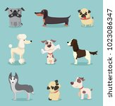 vector illustration set of cute ... | Shutterstock .eps vector #1023086347