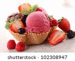 ice cream and berry fruit | Shutterstock . vector #102308947