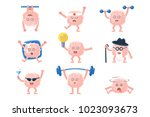 humanized brain doing different ... | Shutterstock .eps vector #1023093673