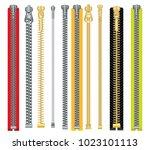 metal and plastic zipper set... | Shutterstock .eps vector #1023101113