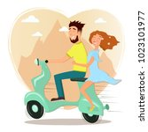 happy man and woman in love... | Shutterstock .eps vector #1023101977