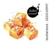 watercolor salted caramel... | Shutterstock . vector #1023110947