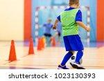 soccer training dribbling cone... | Shutterstock . vector #1023130393