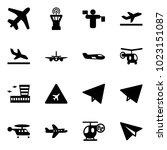 solid vector icon set   plane... | Shutterstock .eps vector #1023151087