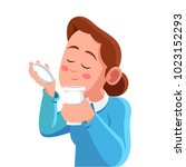 woman smell coffee aroma from a ... | Shutterstock .eps vector #1023152293