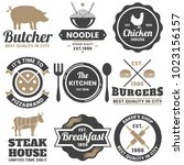 restaurant retro vector logo... | Shutterstock .eps vector #1023156157