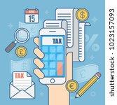 tax payment. business concept... | Shutterstock .eps vector #1023157093