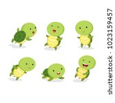 set of turtle in different pose.... | Shutterstock .eps vector #1023159457