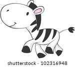 Cute Baby Zebra - stock vector