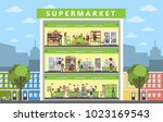 supermarket building interior... | Shutterstock .eps vector #1023169543
