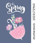 spring greeting card with... | Shutterstock .eps vector #1023172963