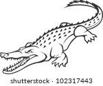 Wild Crocodile Illustration - stock vector