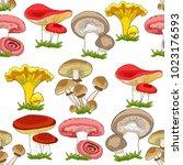 seamless pattern mushrooms... | Shutterstock .eps vector #1023176593