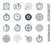 accurate icons. set of 16... | Shutterstock .eps vector #1023186187