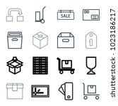 cardboard icons. set of 16... | Shutterstock .eps vector #1023186217