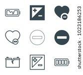 minus icons. set of 9 editable... | Shutterstock .eps vector #1023186253