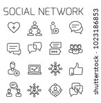 social network related vector... | Shutterstock .eps vector #1023186853